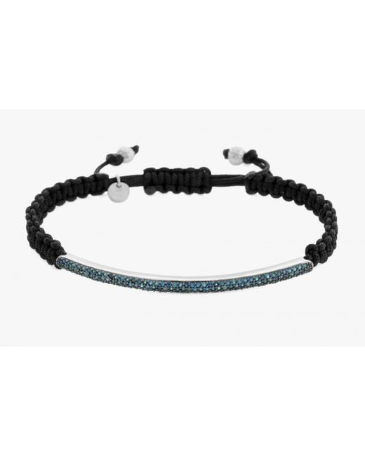 Tateossian | Micro Pavé Macramé Bracelet With Blue Diamonds On A Silver Panel for Men | Lyst