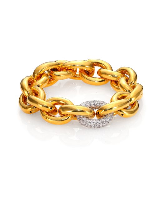 Eddie Borgo | Metallic Single Pave Link Bracelet/goldtone | Lyst