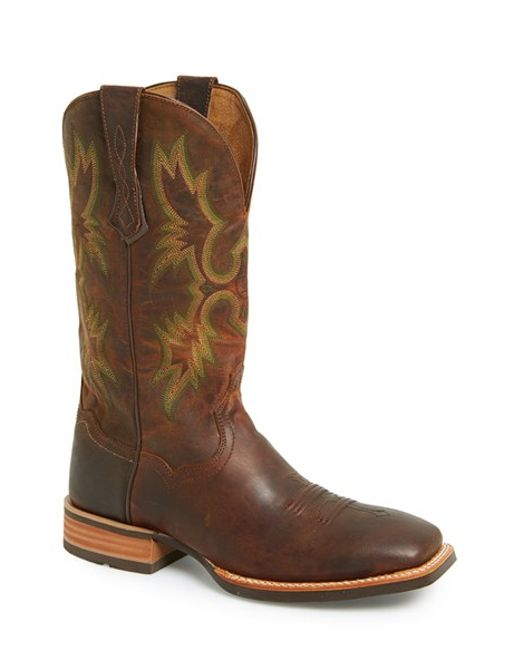 Ariat | Brown 'tombstone Ats' Leather Cowboy Boot for Men | Lyst