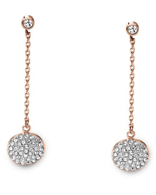 Michael Kors | Pink Pavé Disc Drop Earrings | Lyst