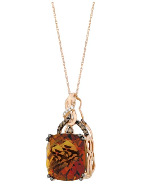 Le Vian | Metallic Quartz (13-1/2 Ct. T.w.) And Diamond (1/6 Ct. T.w.) Pendant Necklace In 14k Rose Gold | Lyst