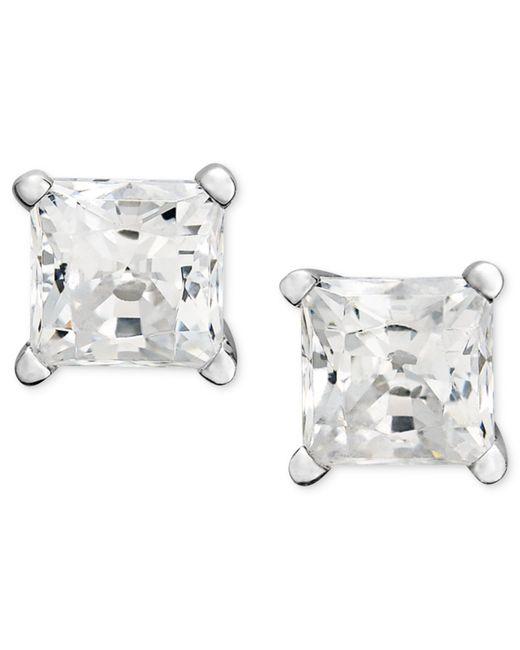Macy's | Metallic Princess-cut Diamond Stud Earrings In 14k White Gold (1/2 Ct. T.w.) | Lyst