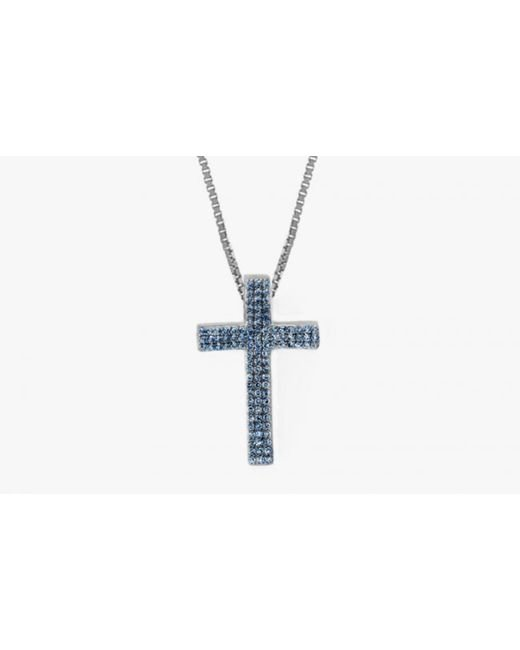 Tateossian | Precious Cross Micro Pavé Necklace In 18k White Gold With 46 0.6ct Blue Sapphires for Men | Lyst