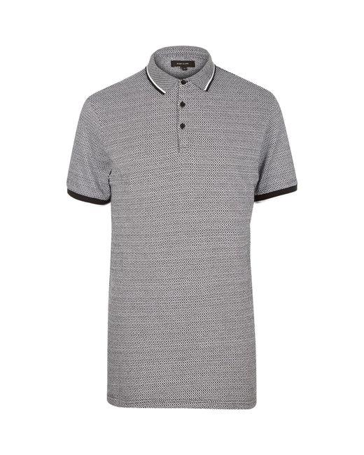River island black diamond jacquard polo shirt in black for men lyst