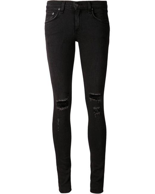 Rag u0026 bone Holes Skinny Jeans in Black | Lyst