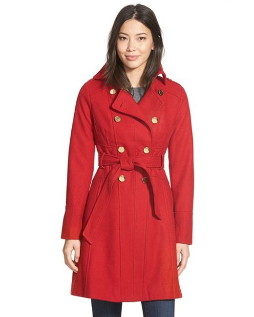 Guess | Red Wool Blend Trench Coat | Lyst