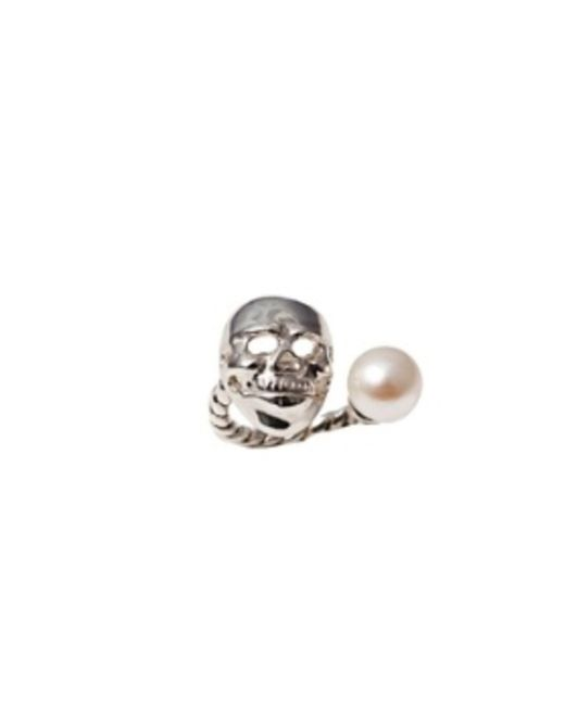 Bernard Delettrez | Metallic Skull And Pearl Silver Ring | Lyst
