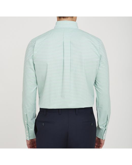 Turnbull asser informalist green horizontal stripe for Horizontal striped dress shirts men