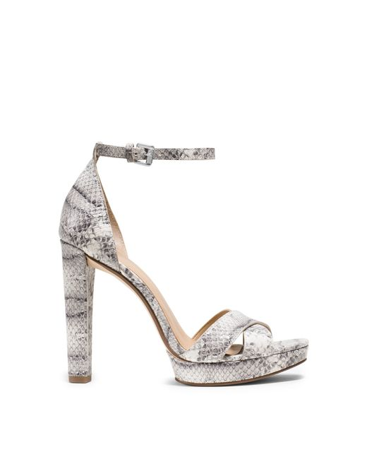 Michael Kors Divia Embossed Leather Platform Sandal In