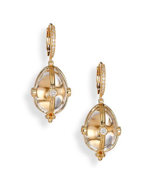 Temple St. Clair | Metallic Classic Rock Crystal, Diamond & 18k Yellow Gold Amulet Drop Earrings | Lyst