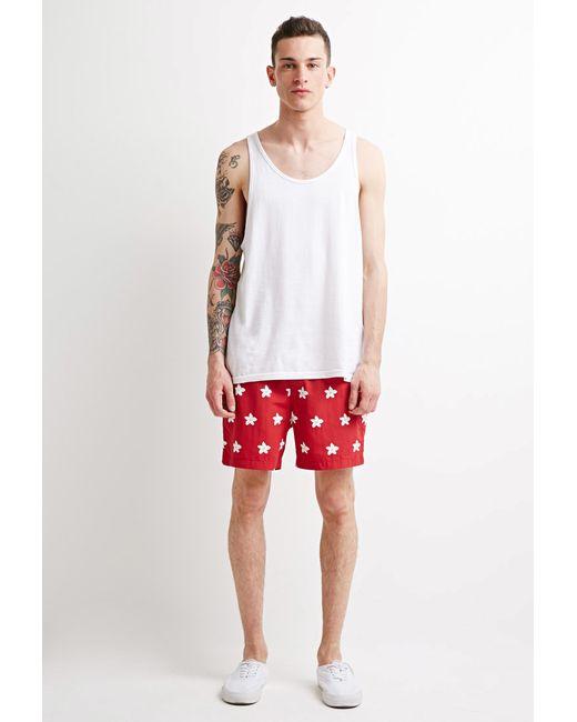 Forever 21 | Red Daisy Swim Trunks for Men | Lyst