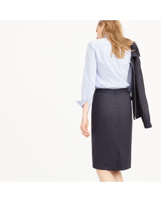 J.Crew | Blue Petite Pencil Skirt In Super 120s Wool | Lyst