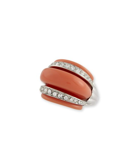 Kenneth Jay Lane | Orange Coral Domed Ring With Crystal Bands | Lyst