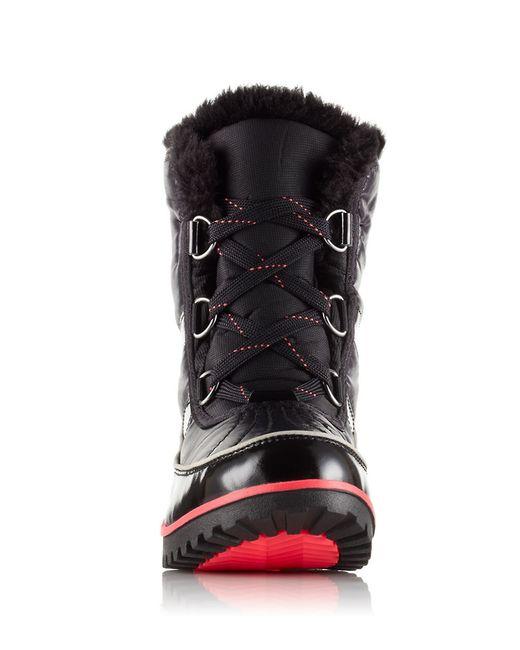 sorel tivoli 2 faux fur cuff ankle boots in black lyst