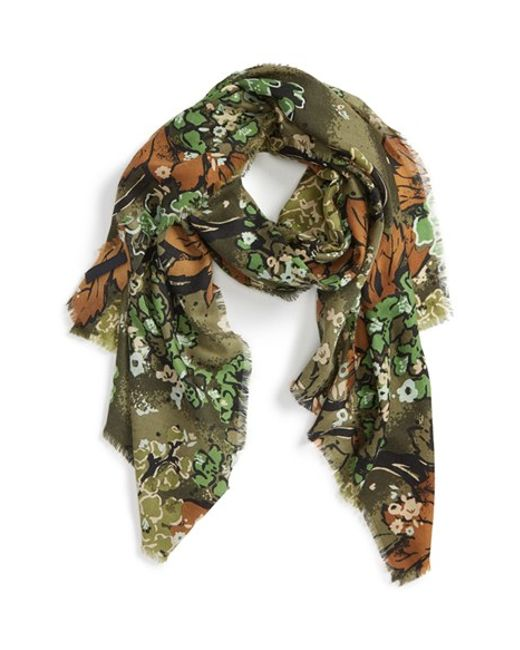 Burberry Prorsum | Green Cluster Floral Cashmere Scarf | Lyst
