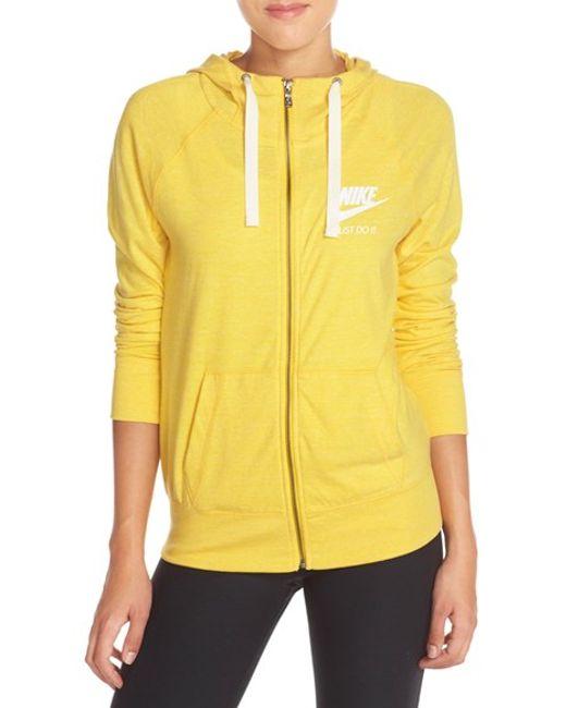 Nike Gym Vintage Front Zip Hoodie In Yellow Varsity