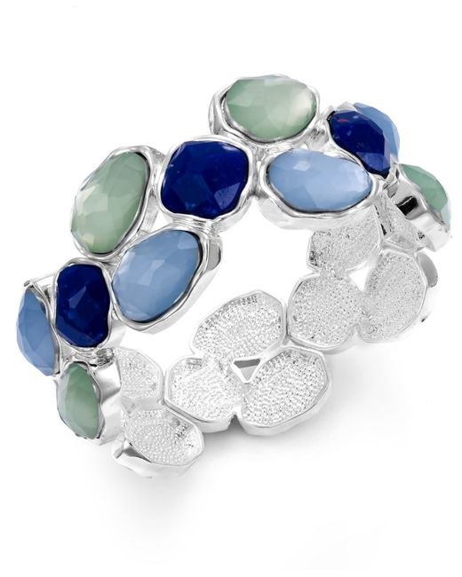 Charter Club | Multicolor Silver-tone Blue Stone Stretch Bracelet | Lyst