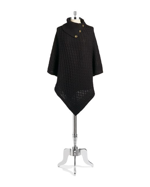 Lord & Taylor | Black Basket Weaved Poncho | Lyst