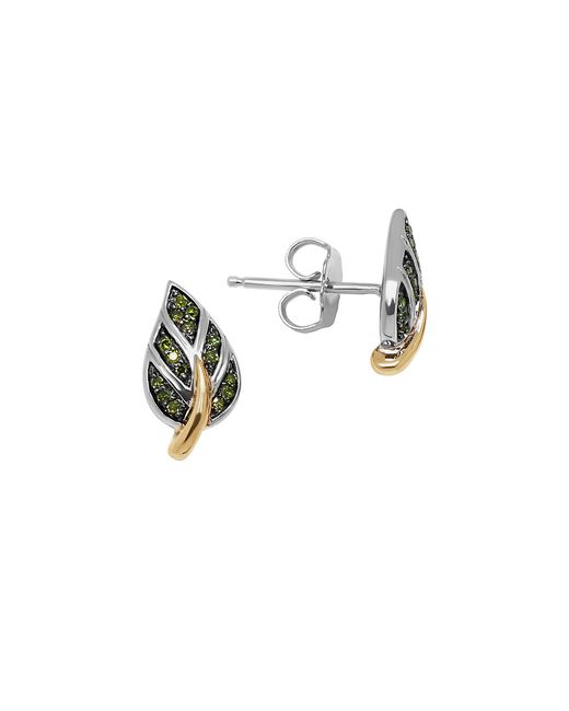 Lord & Taylor | Green Diamond, Sterling Silver And 14k Yellow Gold Leaf Stud Earrings | Lyst