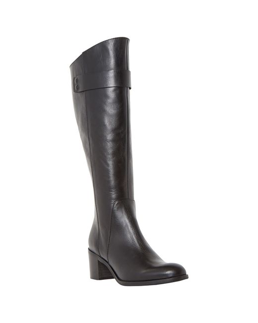 Dune Black | Black Tommie Back Zip Block Heeled Knee Boot | Lyst