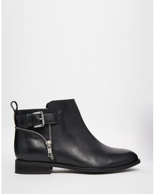asos alarm wide fit leather ankle boots in black blackbox