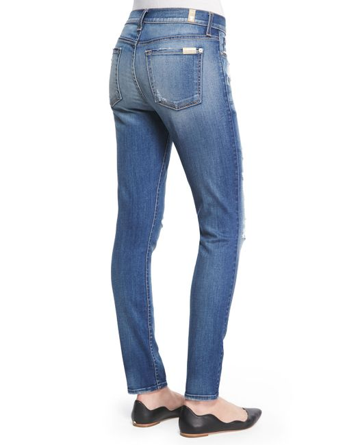 7 For All Mankind | Blue The Ankle Skinny-fit Destroyed Jeans | Lyst