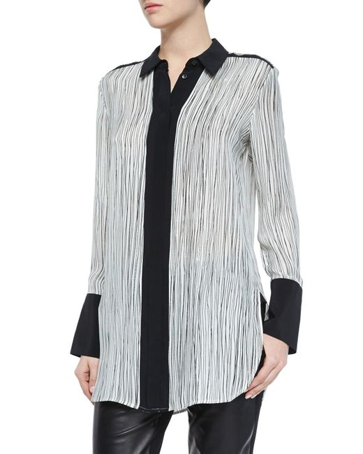 VINCE | Black Wavy Stripe-printed Blouse | Lyst