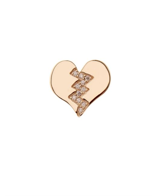 Alison Lou | Metallic Diamond & Yellow-Gold Broken Heart Earring | Lyst