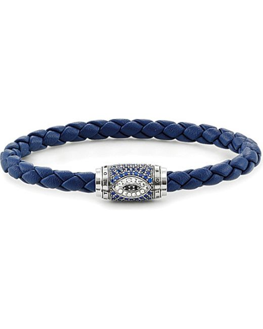 Thomas Sabo | Metallic Nazar's Eye Sterling Silver, Nappa Leather And Pavé Zirconia Unity Bracelet | Lyst