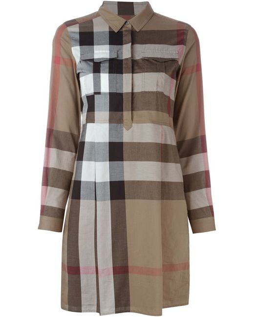 Burberry Brit Supernova Check Shirt Dress In Brown Nude