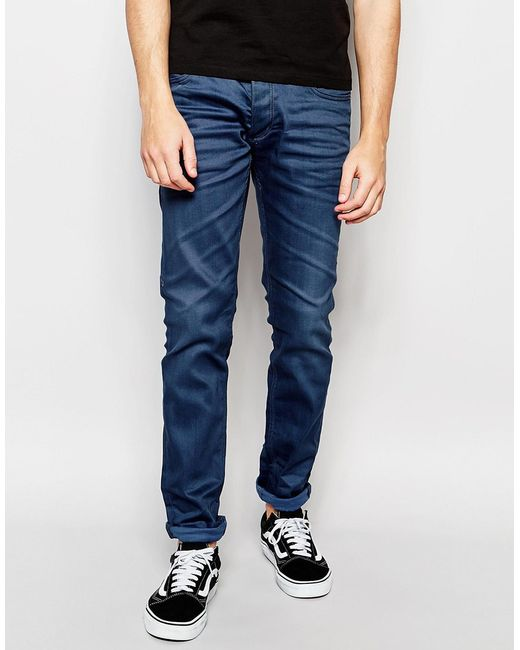 jack jones blue jeans in slim fit with stretch in blue for men. Black Bedroom Furniture Sets. Home Design Ideas