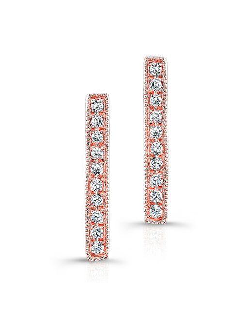 Anne Sisteron | Metallic 14kt Rose Gold Diamond Scalloped Bar Stud Earrings | Lyst