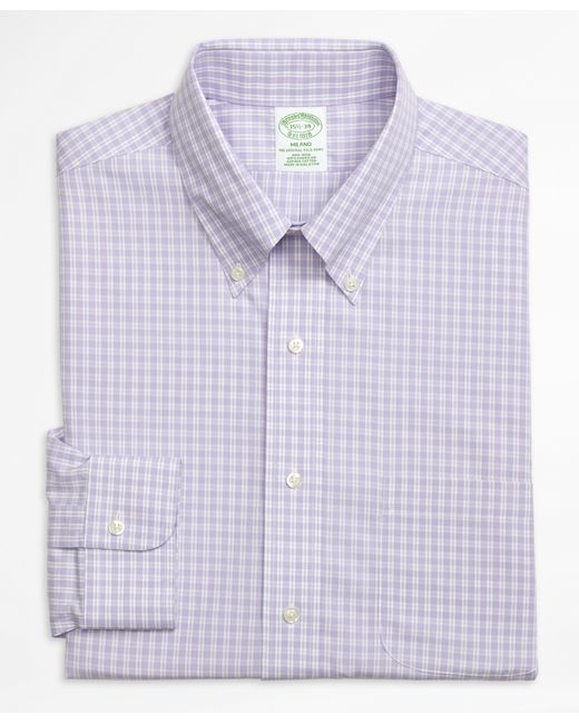 Brooks brothers non iron milano fit twin gingham dress for Mens gingham dress shirt