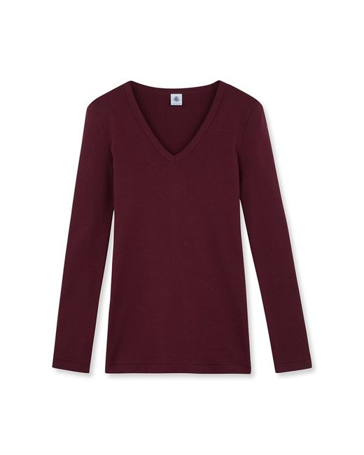 Petit Bateau | Red Women's Long-sleeved V-neck Tee | Lyst