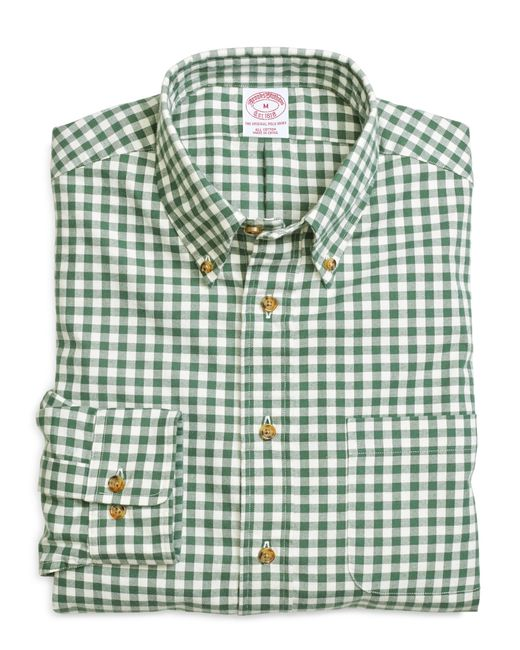 Brooks Brothers | Green Regular Fit Flannel Gingham Sport Shirt for Men | Lyst