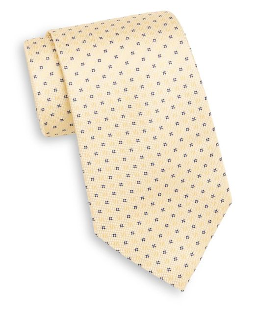 Saks Fifth Avenue | Yellow Neat Cross & Square Silk Tie for Men | Lyst