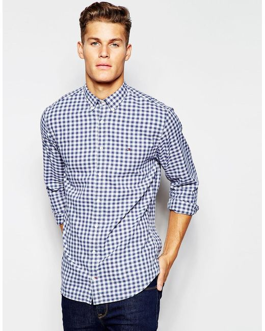 Tommy hilfiger shirt in large gingham in blue for men lyst for Tommy hilfiger gingham dress shirt