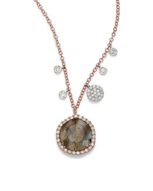 Meira T   Pink Labradorite, Diamond & 14k Rose Gold Pendant Necklace   Lyst