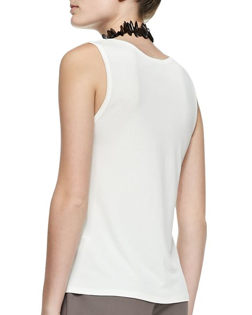 Eileen Fisher | White Stretch Silk Jersey Tank | Lyst