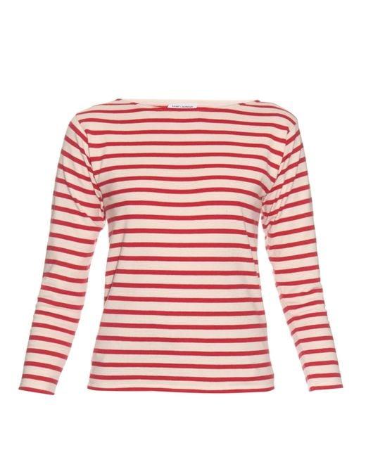 Red Breton Top found in: Ecru/Polish Red Breton T-shirt, Navy/Post Box Red Long Sleeve Breton, Ivory/Post Box Red Crew Neck Breton, Ivory/Cherry Tomato Red Robots Detailed Breton T-shirt, Flying Birds Make A Statement Breton.