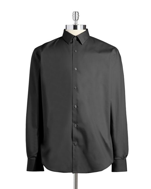 Perry Ellis | Black Textured Button-down Shirt for Men | Lyst