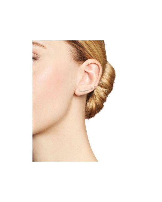 Zoe Chicco | Metallic 14k Yellow Gold Pave Diamond Curved Bar Ear Climber | Lyst