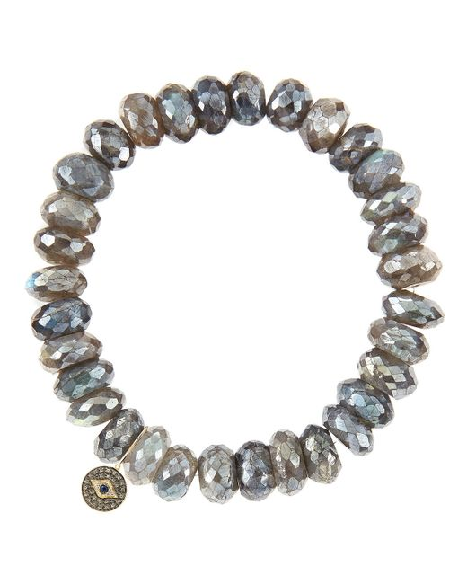 Sydney Evan | Yellow 10Mm Mystic Labradorite Beaded Bracelet With 14K Gold/Diamond Small Horn Charm (Made To Order) | Lyst