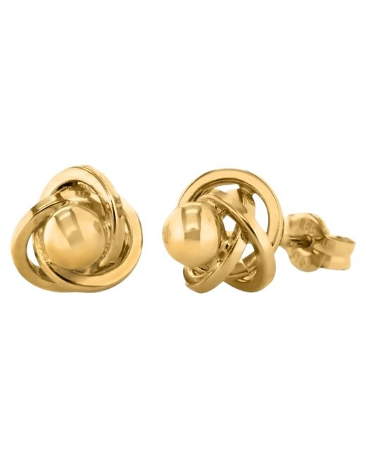 Ib&b | Metallic 9ct Yellow Gold Knot Stud Earrings | Lyst