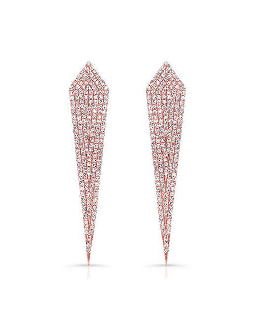 Anne Sisteron - White 14kt Rose Gold Diamond Spear Earrings - Lyst