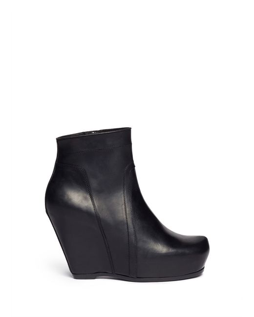 rick owens platform wedge leather ankle boots in black