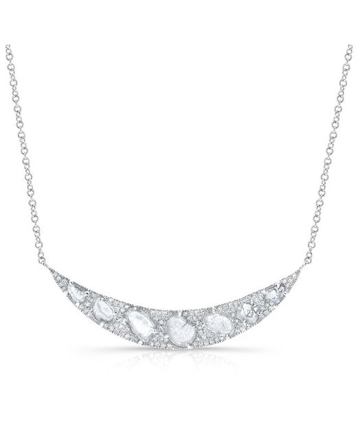 Anne Sisteron | Metallic 14kt White Gold Diamond Slice Crescent Necklace | Lyst