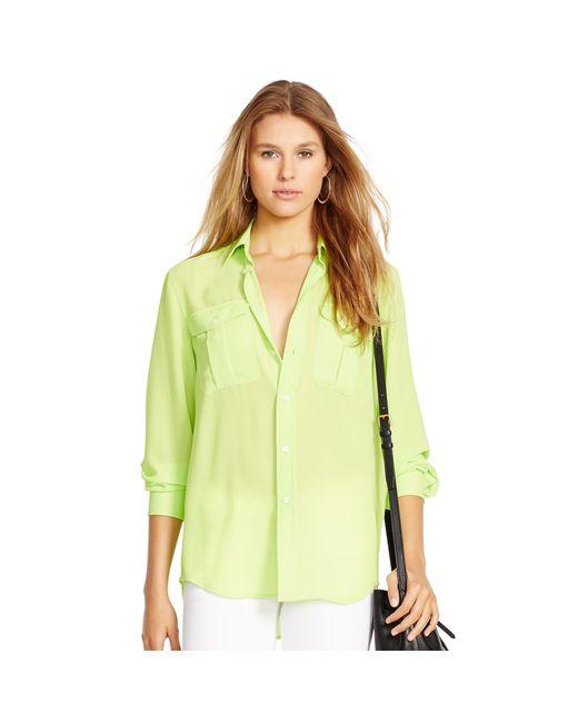 Polo Ralph Lauren | Green Crepe Long-sleeve Shirt | Lyst