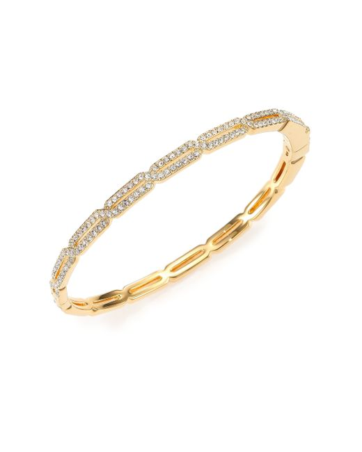 Adriana Orsini | Metallic Pave Crystal Long Hexagon Bangle Bracelet/goldtone | Lyst