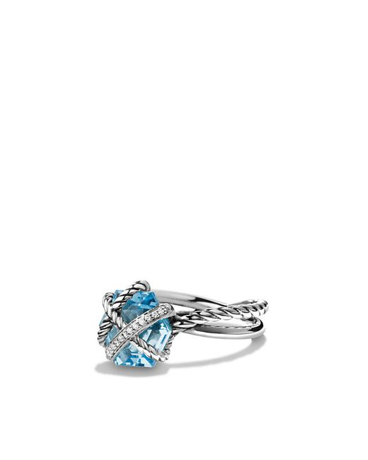 David Yurman | Cable Wrap Ring With Blue Topaz And Diamonds | Lyst